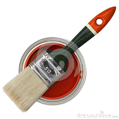 Red paint and brush