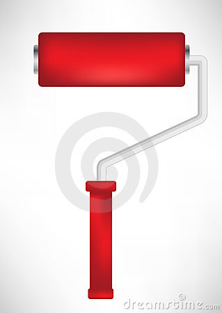 Red paint roller tool