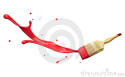 Red paint splashing