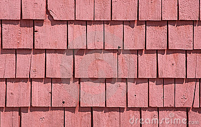 Red painted cedar shingles
