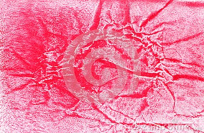 Red painted crumpled paper