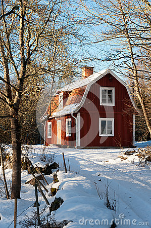 Red painted Swedish wooden house