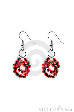 Red pair of earrings