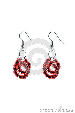 Red pair of earrings