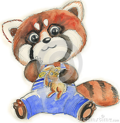Red panda with toy, watercolor for children