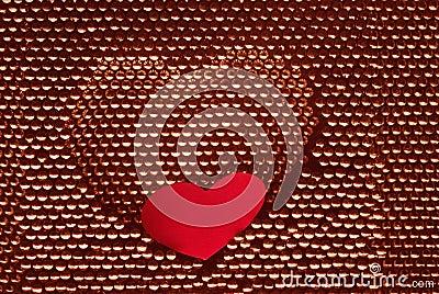 Red paper heart into steel herat shape