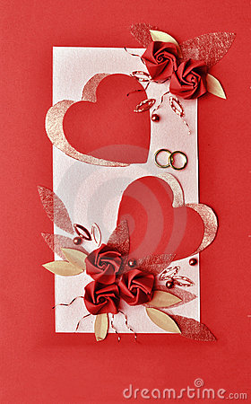 Red paper hearts and flowers wedding card