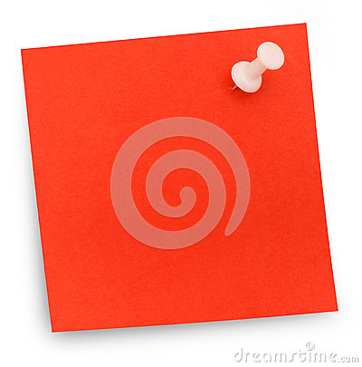 Red paper note pinned
