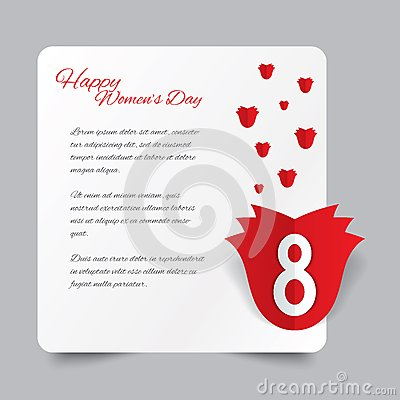 Red paper rose 8 March Women s Day card.