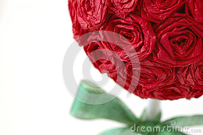 Red Paper Rose Topiary