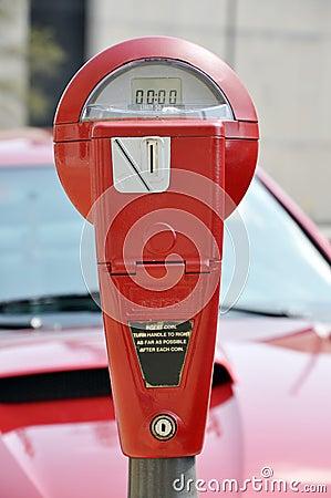 Red Parking Meter
