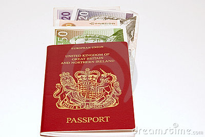 Red passport and british pounds