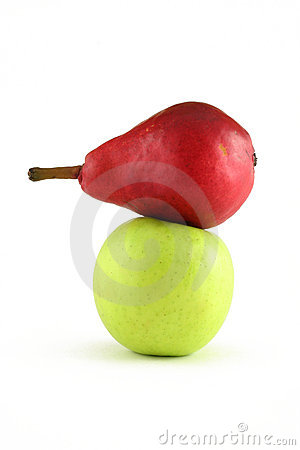 Red pear and green apple