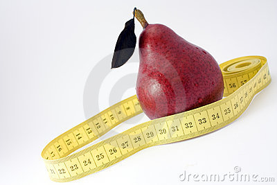 Red pear and tape