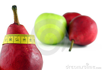 Red pear with tape-line