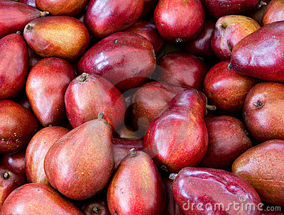 Red pears on display