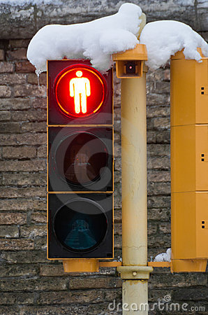 Red Pedestrian Crossing With Snow