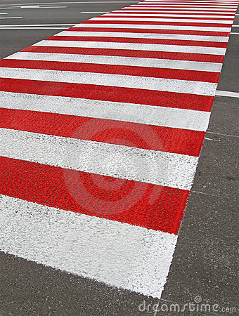 Red pedestrian road, zebra asphalt