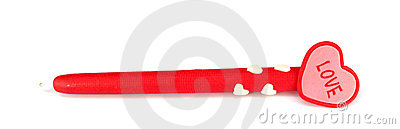 Red pen with heart on the top