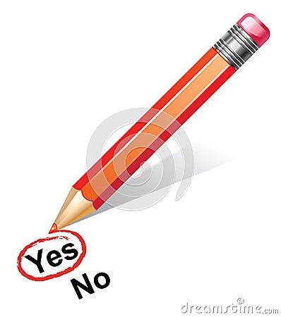 Red pencil choosing yes