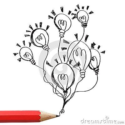 Red pencil drawing light bulbs idea concept.