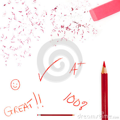 Red pencil jottings