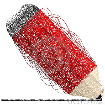 Red pencil made of lines