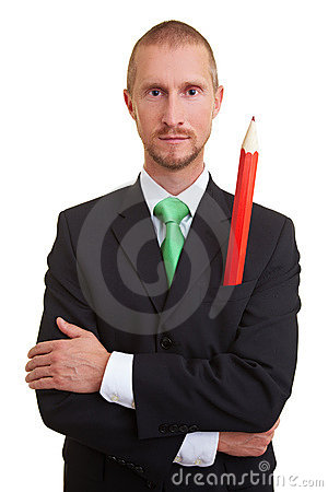 Red pencil in pocket