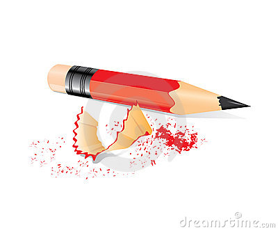 Red pencil with sharpener trash