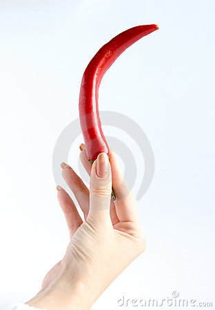 Free Red Pepper In Hand Stock Images - 1349824