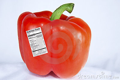 Red Pepper with Nutrition Label
