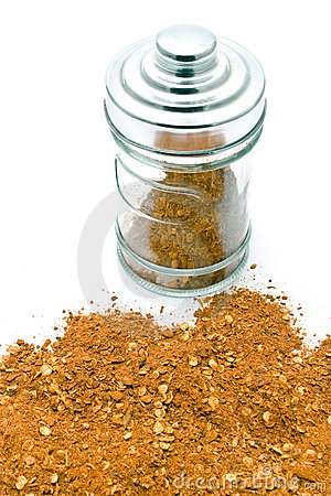 Red pepper powder in jar