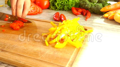 Red Pepper Slicing in slow Motion stock footage