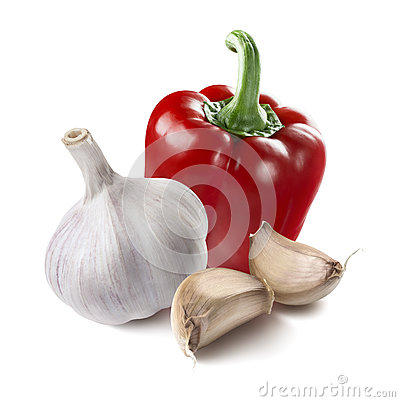 Free Red Pepper Whole Garlic Segments Isolated On White Background Royalty Free Stock Photography - 69360447