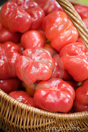 Red peppers in a basket