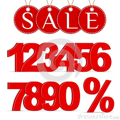 Red Percent Sign, Numbers 0-9 and a Sale Labels Vector Illustration