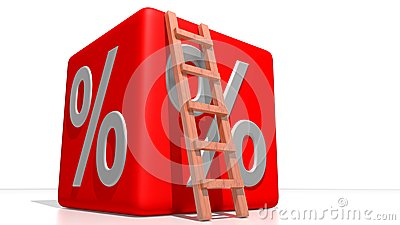 Red percentage cube