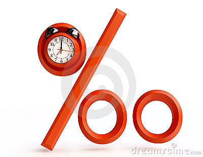 Red Percentage Sign with Alarm Clock