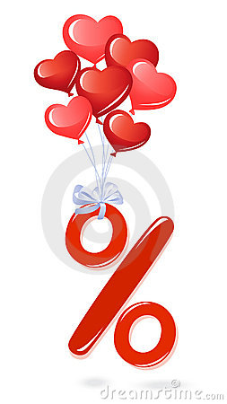 Red percentage symbol with heart balloons