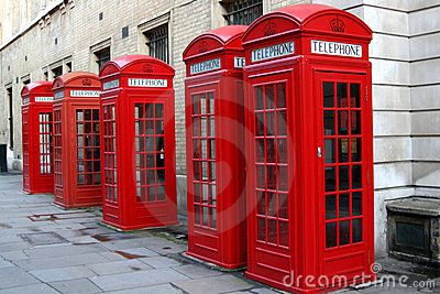 Red phone booths Editorial Stock Image