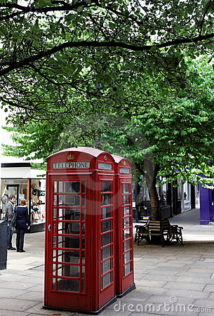 Red phone booths. Central London. UK.