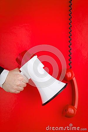 Red phone and megaphone