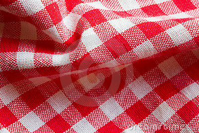 Red picnic cloth closeup