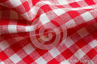 Red picnic cloth closeup