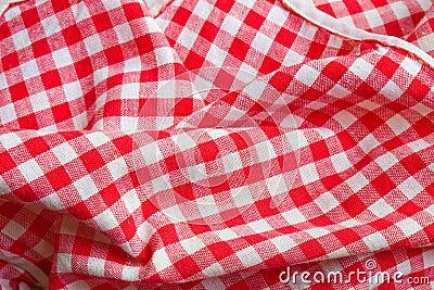 Red picnic cloth closeup detail