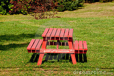Red picnic table