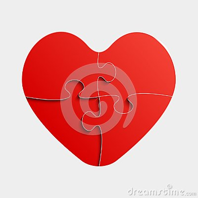 Free Red Piece Puzzle Heart Valentines Day, Love Stock Images - 107987174