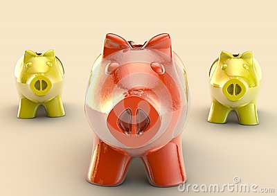 Red piggybank on a group