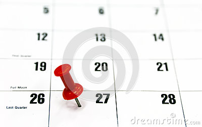 Red pin calendar