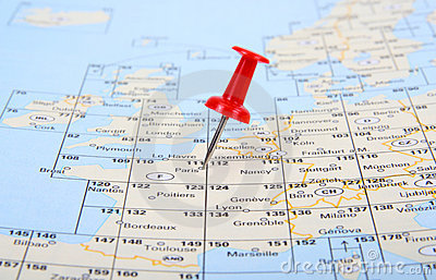 Red pin show the location of a destination point o